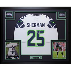 ecd40454907 ... cheap richard sherman signed seahawks 35 x 43 custom framed jersey  sherman coa c58ff b759e