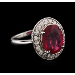 14KT White Gold 3.89 ctw Ruby and Diamond Ring