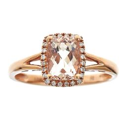 1.22 ctw Morganite and Diamond Ring - 10KT Rose Gold