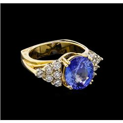 6.35 ctw Tanzanite and Diamond Ring - 14KT Yellow Gold