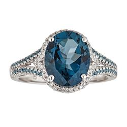 4.14 ctw Topaz and Diamond Ring - 14KT White Gold