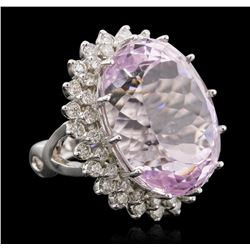 14KT White Gold 40.04 ctw GIA Certified Kunzite and Diamond Ring