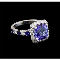 14KT White Gold 3.49 ctw Tanzanite, Sapphire and Diamond Ring