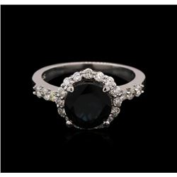 1.78 ctw Green Tourmaline and Diamond Ring - 14KT White Gold