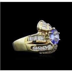 0.80 ctw Tanzanite and Diamond Ring - 14KT Yellow Gold