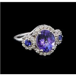 14KT White Gold 3.07 ctw Tanzanite, Sapphire and Diamond Ring