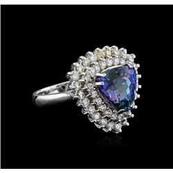 5.38 ctw Tanzanite and Diamond Ring - 14KT White Gold