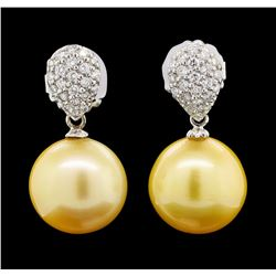 Pearl and Diamond Earrings - 14KT White Gold