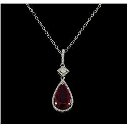 6.47 ctw Ruby and Diamond Pendant With Chain - 14KT White Gold