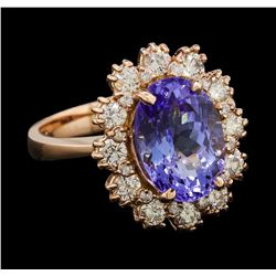 4.45 ctw Tanzanite and Diamond Ring - 14KT Rose Gold