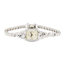 2.10 ctw Diamond Hamilton Lady's Wrist Watch - Platinum