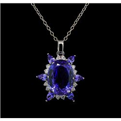 GIA Cert 28.43 ctw Tanzanite and Diamond Pendant With Chain - 14KT White Gold