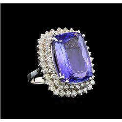 GIA Cert 21.48 ctw Tanzanite and Diamond Ring - 14KT White Gold