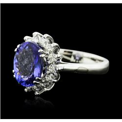 14KT White Gold 5.19 ctw Tanzanite and Diamond Ring
