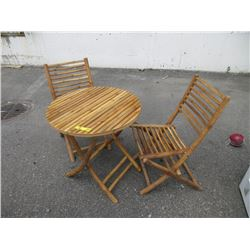 Bamboo Folding Table & 2 Chairs