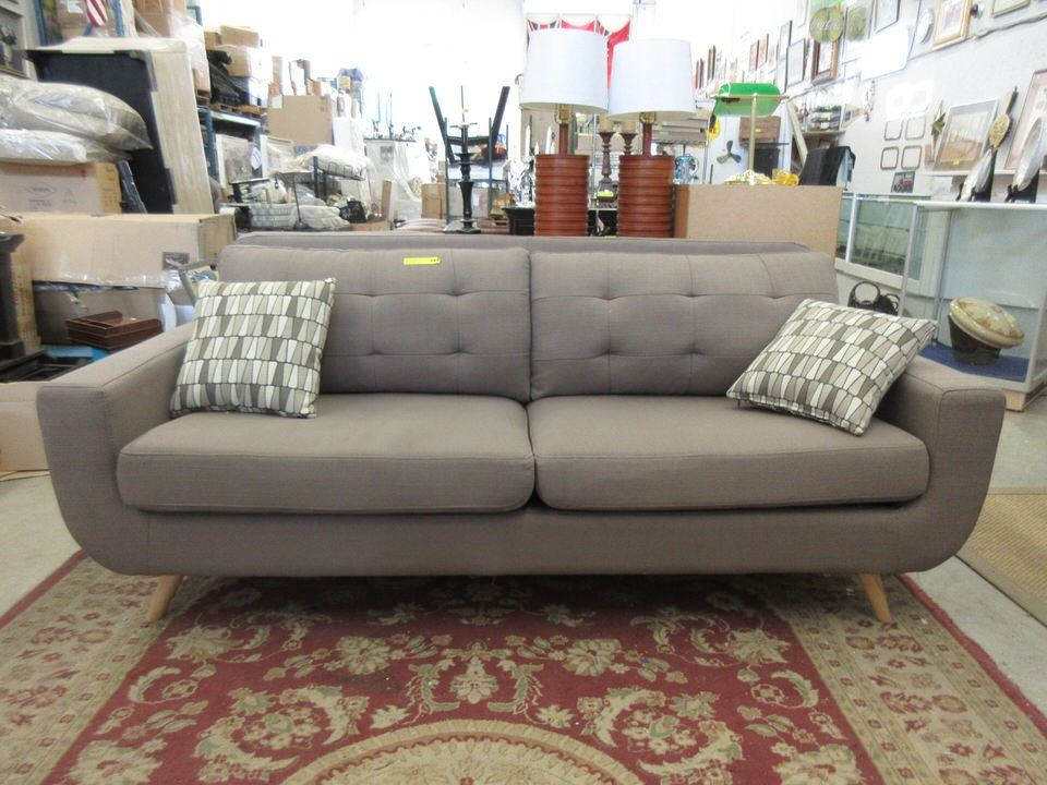 Image 1 New Retro Style Sofa With 2 Throw Cushions