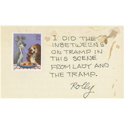 "Signed ""Lady and the Tramp"" Stamp & Note."