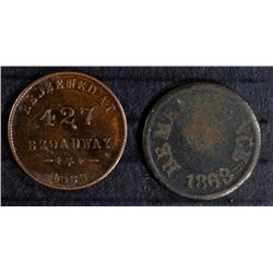 2- CIVIL WAR TOKENS HERRICK FRUIT & NOT ONE CENT