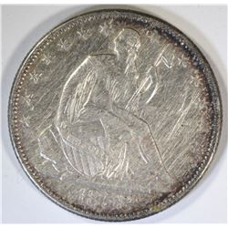 1858-O SEATED HALF DOLLAR, AU cleaned