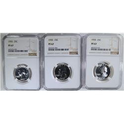 3-1955 WASHINGTON QUARTERS, NGC PF-67
