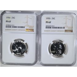 1955 & 56 WASHINGTION QUARTERS, NGC PF-67