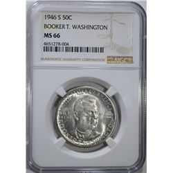 1946-S B.T. WASHINGTON HALF DOLLAR, NGC MS-66