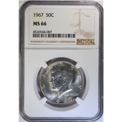 1967 KENNEDY HALF DOLLAR NGC MS66