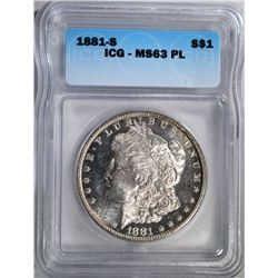 1881-S MORGAN DOLLAR ICG MS-63 PL