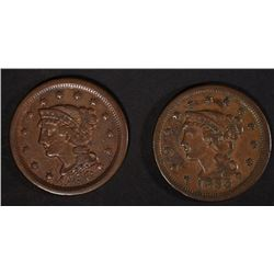 1853 ABOUT XF & 1850 VF LARGE CENTS