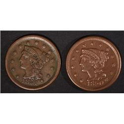 2 LARGE CENTS: 1850 XF & 1851 VF+