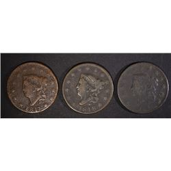 1817, 18 & 26 LARGE CENTS VG