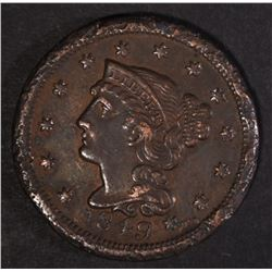 1849 LARGE CENT, AU BETTER DATE W RIM ISSUES &