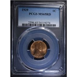 1929 LINCOLN CENT PCGS MS-65 RD