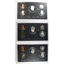 U.S. SILVER PROOF SETS; 1995, 1997, 1998