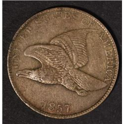 1857 FLYING EAGLE CENT VF+ few marks