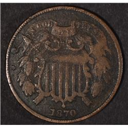 1870 TWO-CENT PIECE FINE DARK KEY DATE