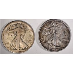 1920-D GOOD & 1943 AU+ WALKING LIBERTY HALVES