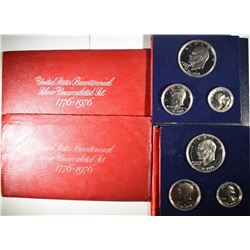 2-Pf & 2-UNC 1976 3-PIECE 40% SILVER SETS
