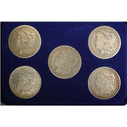 5-PIECE MORGAN SILVER DOLLAR COLLECTION IN BOX