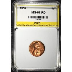 1955 LINCOLN CENT, LVCS SUPERB GEM BU RED