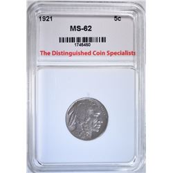 1921 BUFFALO NICKEL, TDCS UNC