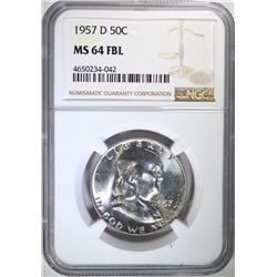 1957-D FRANKLIN HALF DOLLAR NGC MS64