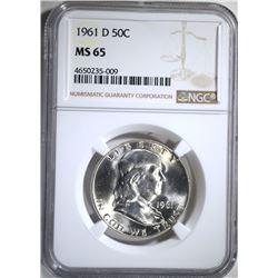1961-D FRANKLIN HALF DOLLAR, NGC MS-65