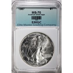 1987 AMERICAN SILVER EAGLE EMGC PERFECT