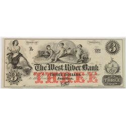 1850'S $3.00 VERMONT JAMAICA WEST RIVER BANK NOTE