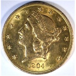 1904 $20.00 GOLD LIBERTY, XF/AU