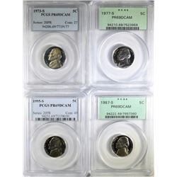 1973-S, 1977-S, 1987-S & 1995-S JEFF NICKELS PCGS