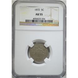 1872 5 CENTS SHIELD NICKEL NGC AU 55