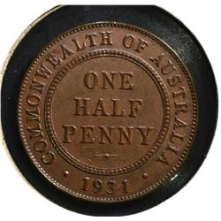 1931 ONE HALF PENNY AUSTRALIA BU BROWN