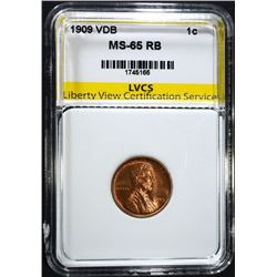 1909 VDB LINCOLN CENT LVCS GEM BU RB